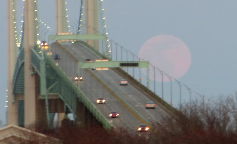 Moonrise at the Newport Bridge