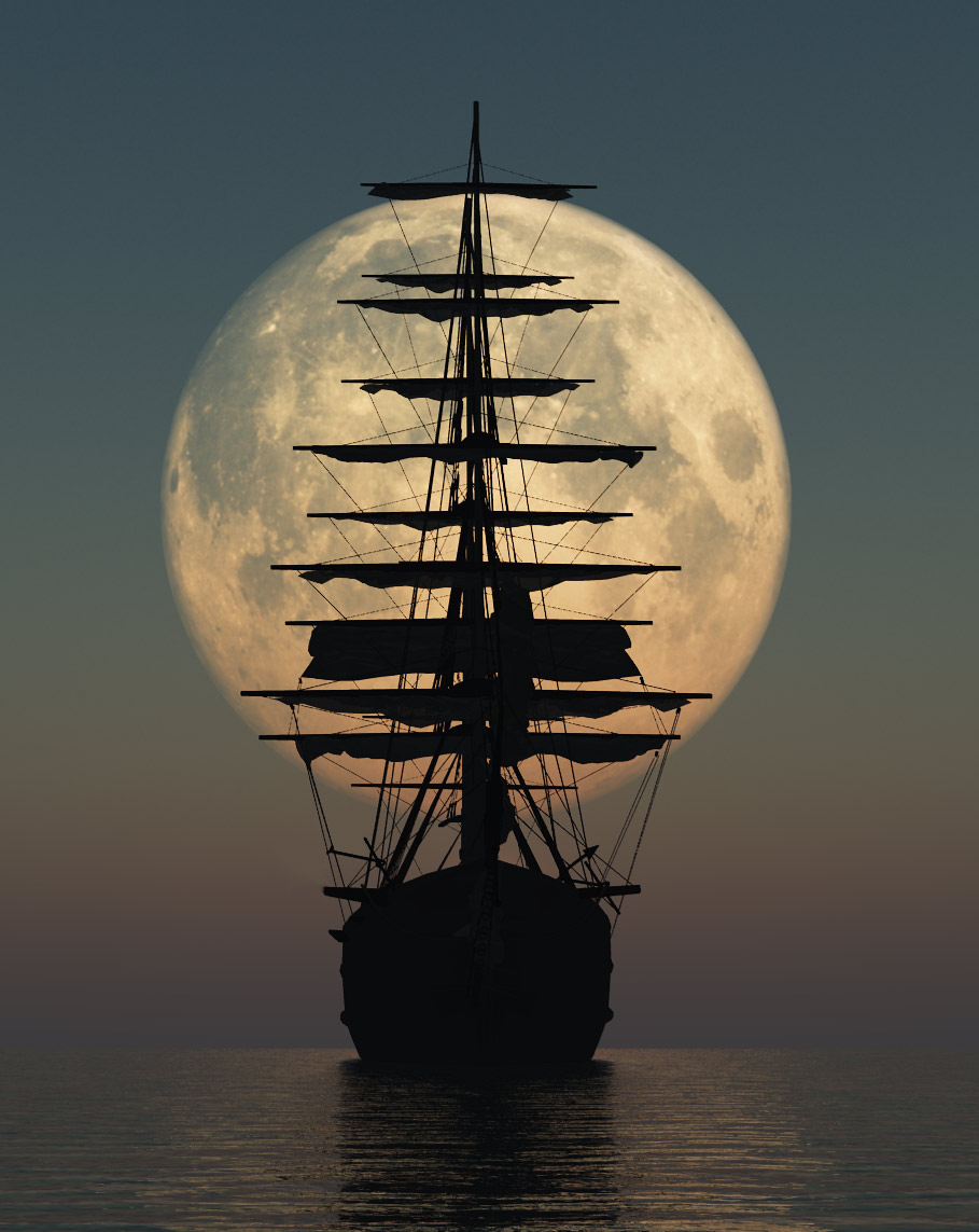 Moon and Ship --Digital Art! Not a photo